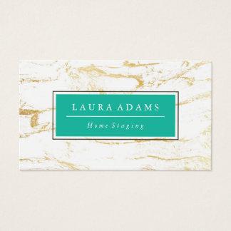 Cartão De Visitas Verde elegante do mármore & de mar do ouro