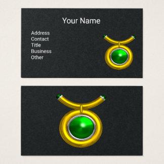 Cartão De Visitas Verde esmeralda da jóia do zodíaco do ouro do