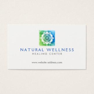 Cartão De Visitas Verde floral/azul do logotipo do bem-estar da
