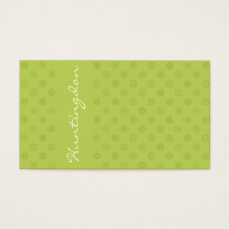 Cartão De Visitas Verde no verde com círculos amarelos
