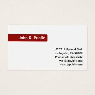 Cartão De Visitas Vermelho conhecido do foco no branco liso