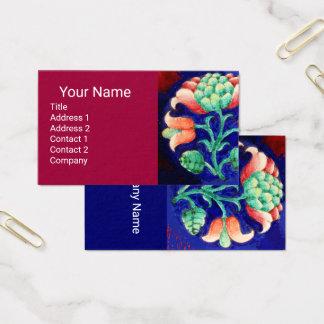 Cartão De Visitas Vermelho de cereja FLORAL VERDE COR-DE-ROSA AZUL