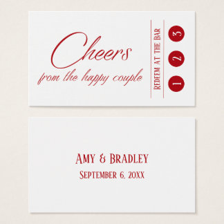 Cartão De Visitas Vermelho de cereja no branco, 3 bilhetes da bebida
