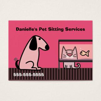 Cartão De Visitas Vermelho do negócio do baby-sitter do animal de
