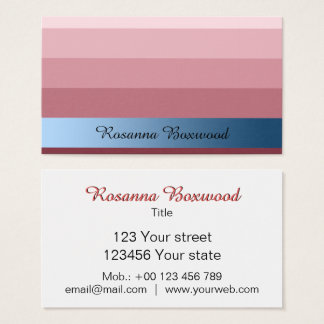 Cartão De Visitas Vermelho do rosa do inclinação com texto azul do