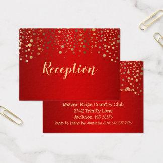 Cartão De Visitas Vermelho e pontos dos confetes do ouro - recepção