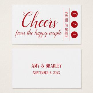 Cartão De Visitas Vermelho editável no branco, 3 bilhetes da bebida