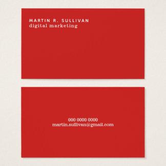 Cartão De Visitas vermelho moderno minimalista