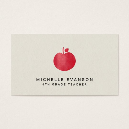 Cartão De Visitas Vermelho profissional Apple do instrutor do