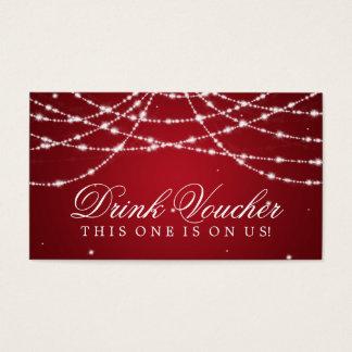 Cartão De Visitas Vermelho Sparkling Wedding da corda do comprovante