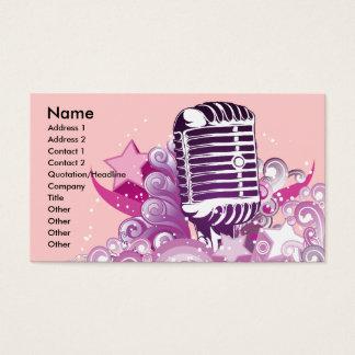 Cartão De Visitas vetor do microfone do vintage da diva do canto