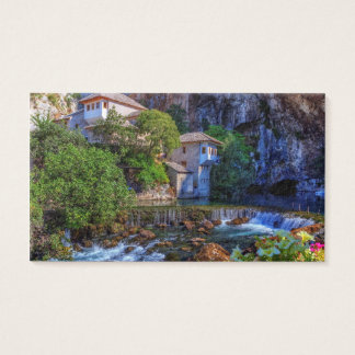 Cartão De Visitas Vila pequena Blagaj na cachoeira do Buna, Bósnia e