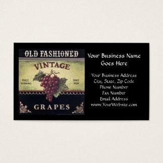 Cartão De Visitas Vinho velho das uvas do vintage da forma, o roxo e