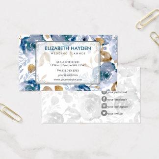 Cartão De Visitas Vintage azul floral