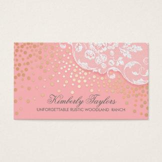 Cartão De Visitas Vintage do rosa dos confetes do laço e do ouro