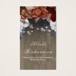 Cartão De Visitas Vintage e ameixa e Borgonha rústicas Boho floral