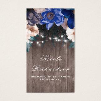 Cartão De Visitas Vintage e marinho e azuis marinhos rústicos Boho