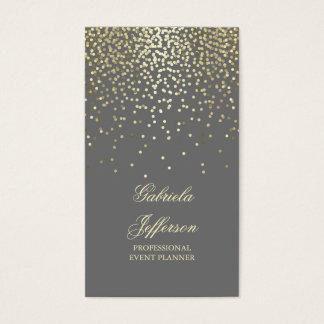 Cartão De Visitas Vintage elegante cinzento do encanto dos confetes