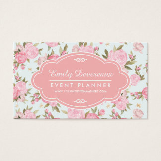 Cartão De Visitas Vintage floral feminino elegante personalizado