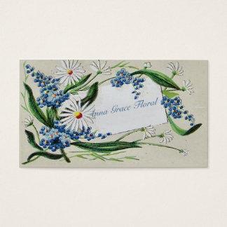 Cartão De Visitas Vintage floral, margaridas e Bluebells, costume