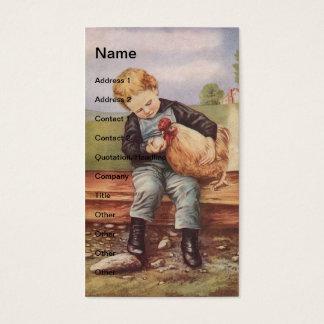 Cartão De Visitas Vintage Little Boy e galinha