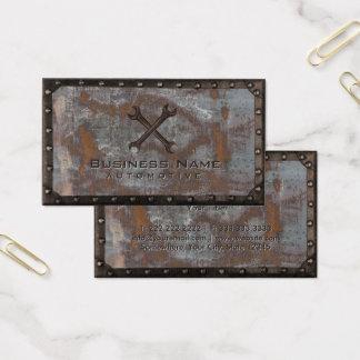 Cartão De Visitas Vintage oxidado do metal do Grunge da reparação de