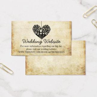 Cartão De Visitas Web site de suspensão do casamento vintage da