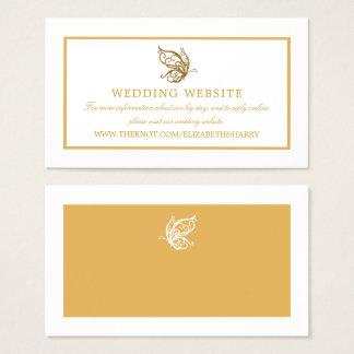 Cartão De Visitas Web site do casamento da borboleta do brilho do