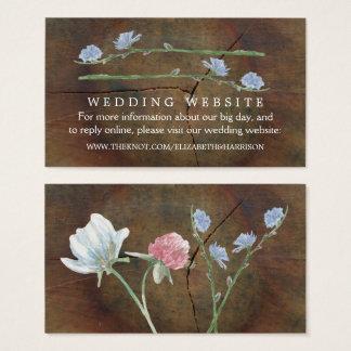 Cartão De Visitas Web site do casamento da madeira de carvalho do