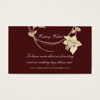 Cartão De Visitas Web site floral do casamento do ouro marrom de