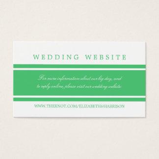 Cartão De Visitas Web site moderno do casamento do verde esmeralda