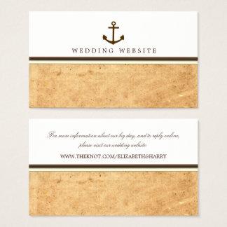 Cartão De Visitas Web site náutico do casamento de papel do vintage