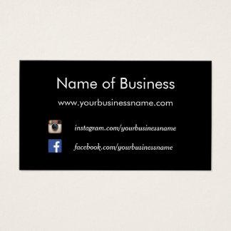 Cartão De Visitas Web site sociais pretos lisos modernos dos meios