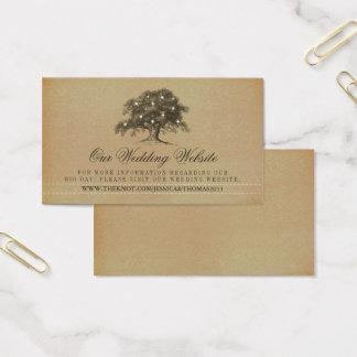 Cartão De Visitas Web site velho do casamento do carvalho do vintage