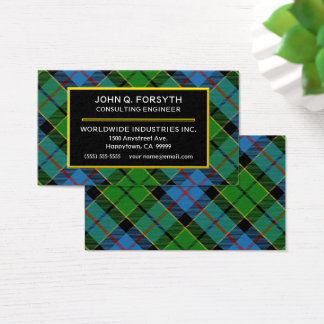 Cartão De Visitas Xadrez de Tartan escocesa de Forsyth do clã