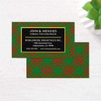 Cartão De Visitas Xadrez de Tartan escocesa de Menzies do clã