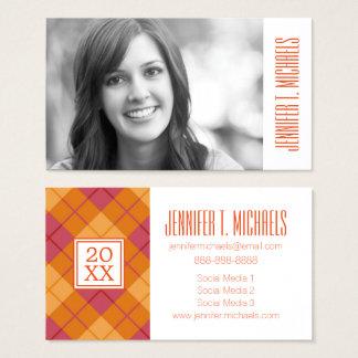 Cartão De Visitas Xadrez diagonal da graduação   da foto na laranja