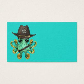 Cartão De Visitas Xerife verde bonito do polvo do bebê
