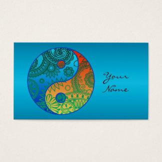 Cartão De Visitas Yin modelado ID325 alaranjado e azul de Yang