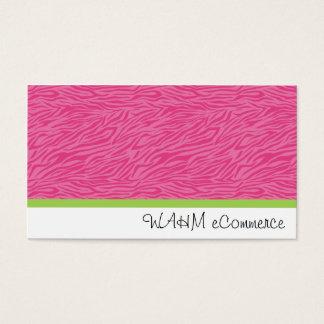 Cartão De Visitas Zebra cor-de-rosa com listra verde