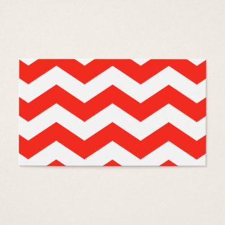 Cartão De Visitas Ziguezagues vermelhos e brancos