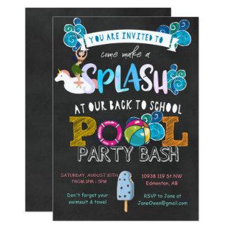 Cartão De volta à festa na piscina da escola