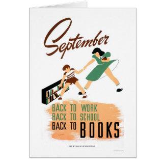 Cartão De volta ao trabalho da escola WPA 1940