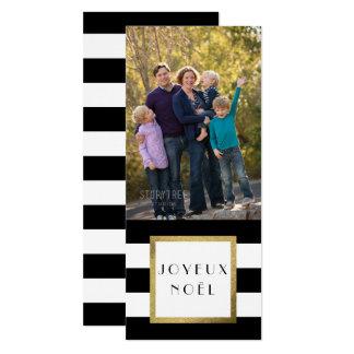 """Cartão De """"Xmas preto & branco da foto Joyeux Noël"""" da"""