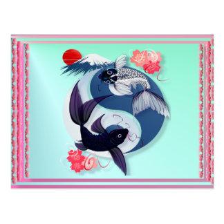 Cartão de Yin e de Yang Koi