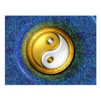 Cartão de Yin-Yang, anel dourado e mosaico azul
