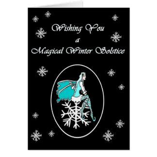 Cartão de Yule do país das fadas do floco de neve