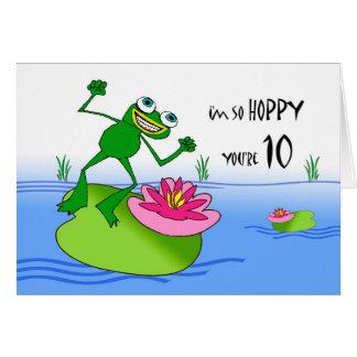 Cartão Décimo 10o aniversário Hoppy, sapo engraçado na