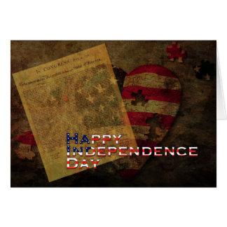 Cartão Declaração de independência & de bandeira 4o julho