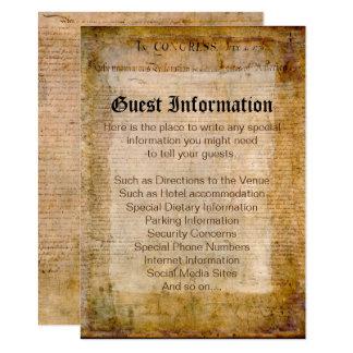 Cartão Declaração de independência EUA que Wedding a